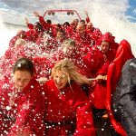 Onboard photo of Oz Jet Boating passengers mid spin