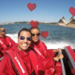 Happy couple on Oz Jet boating thrill ride